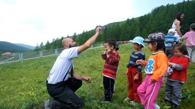 Matteo entertaining the children