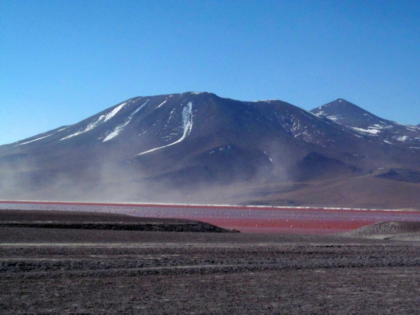 Laguna Colorada. The water is coloured in red as the flamingos that live there .